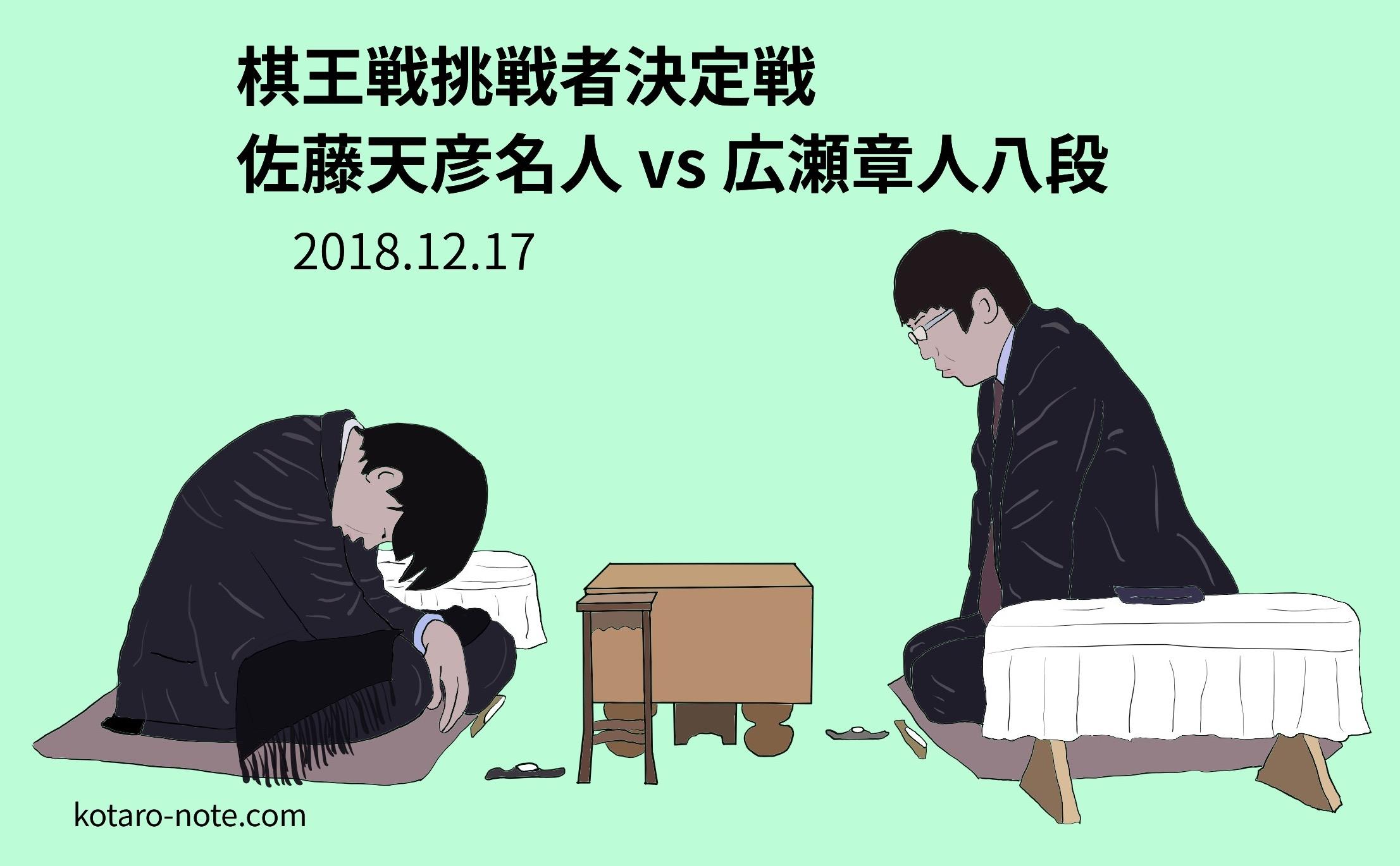 佐藤天彦名人vs広瀬章人八段、棋王戦挑戦者決定戦