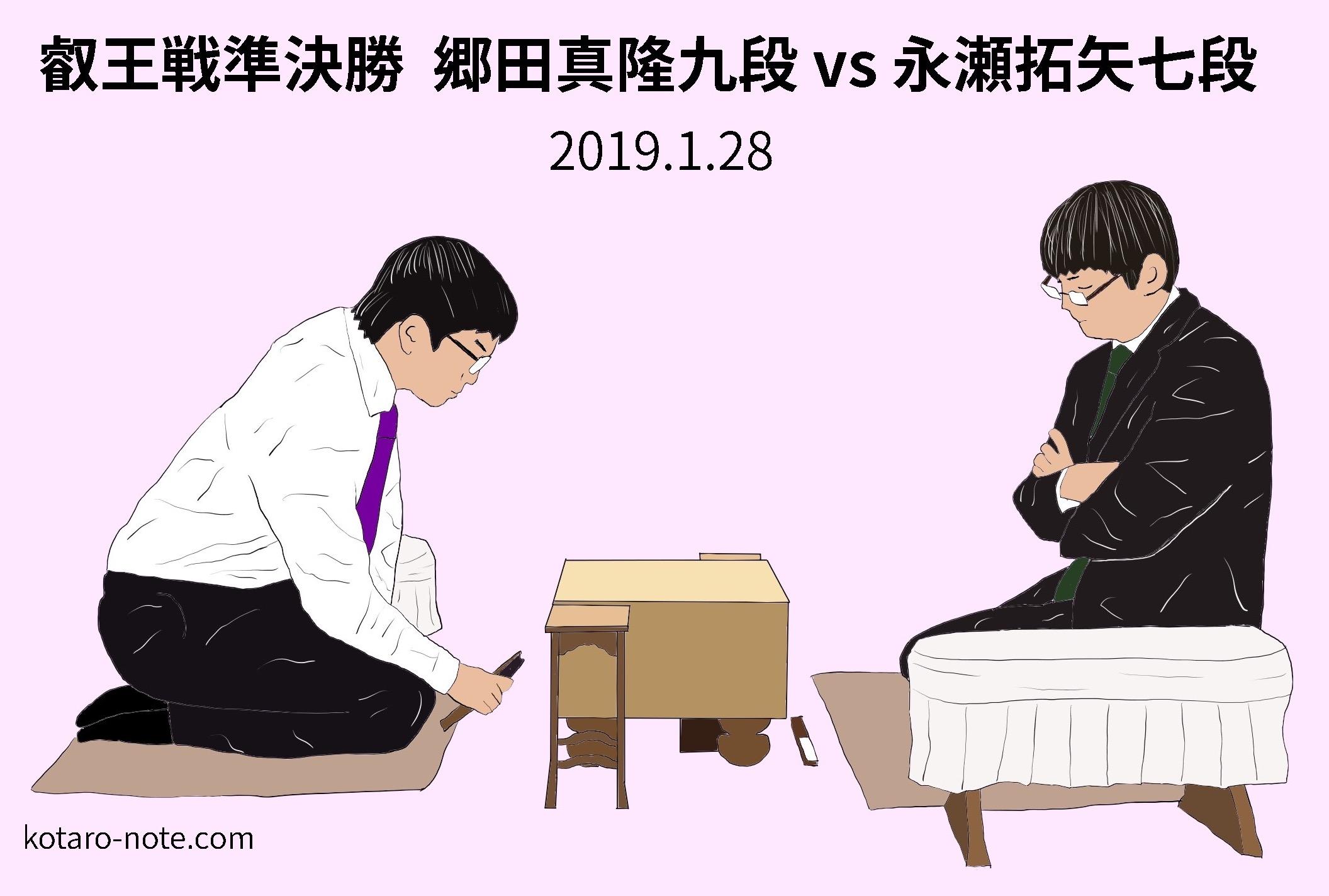 郷田真隆九段vs永瀬拓矢七段、叡王戦