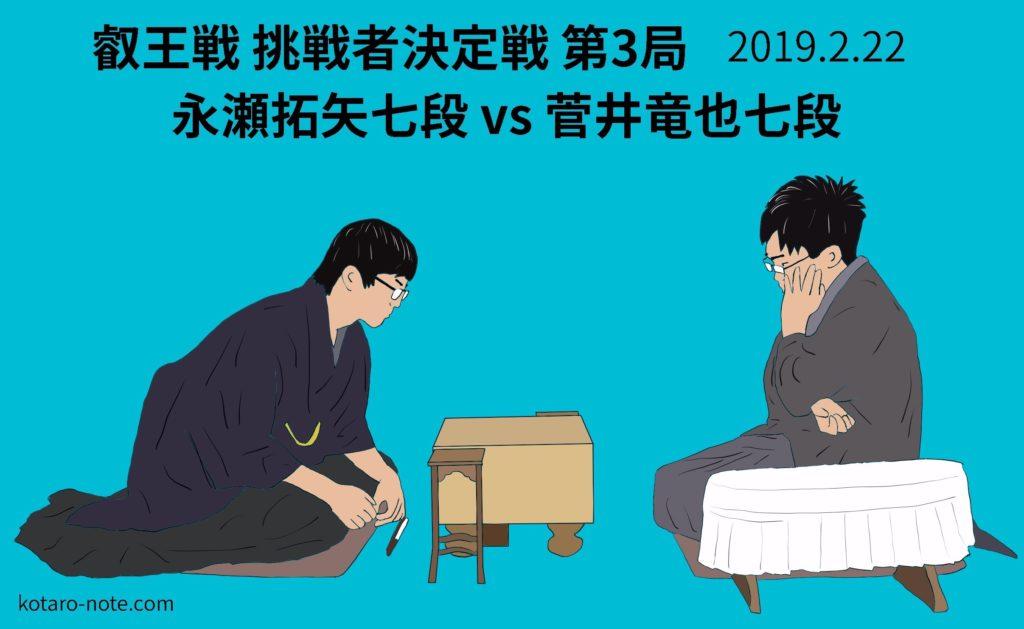 永瀬拓矢七段vs菅井竜也七段、叡王戦挑戦者決定戦第3局
