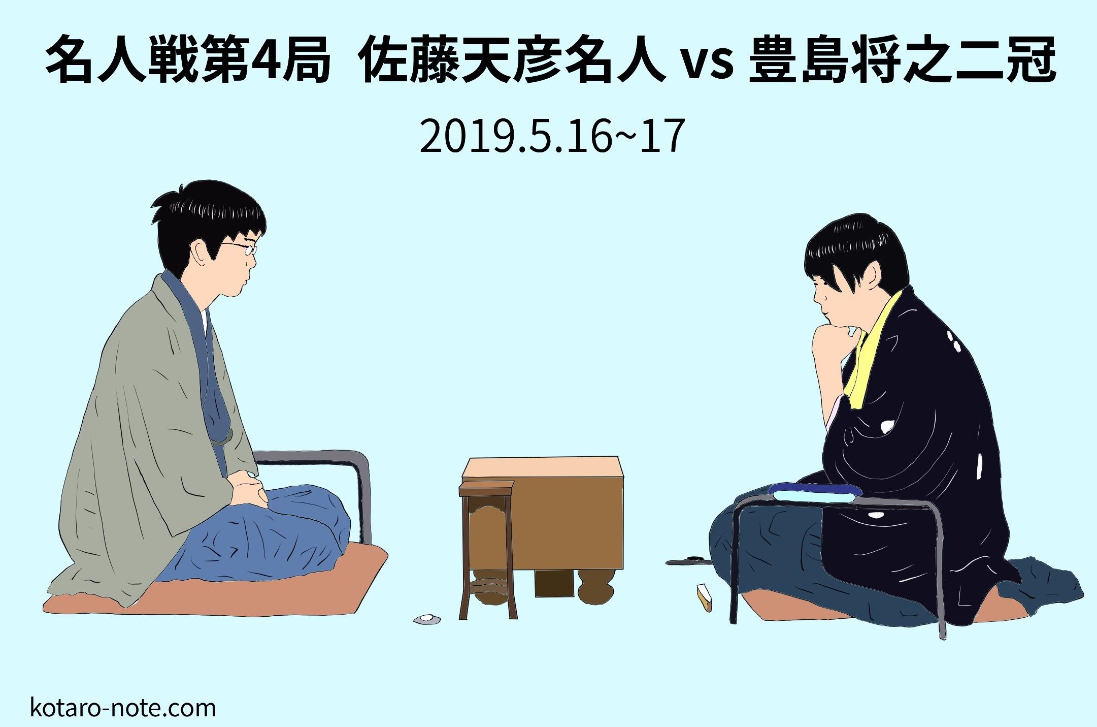 佐藤天彦名人vs豊島将之二冠、名人戦第4局