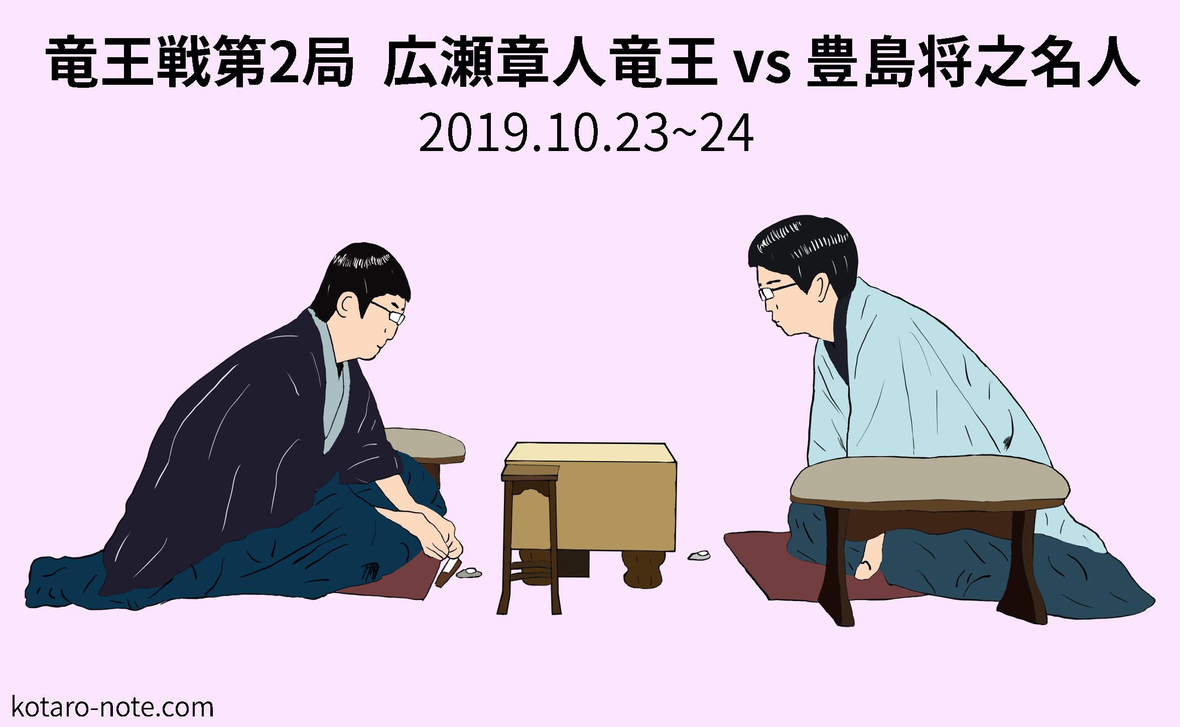 広瀬章人竜王vs豊島将之名人、竜王戦第2局