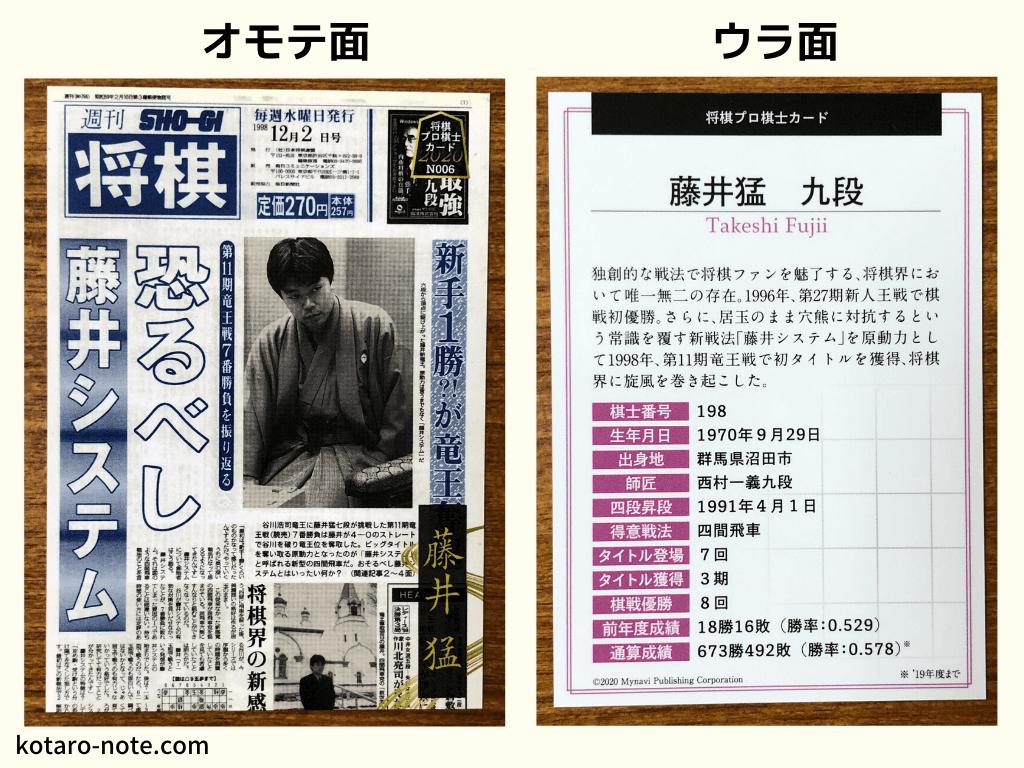 藤井猛九段のプロ棋士カード